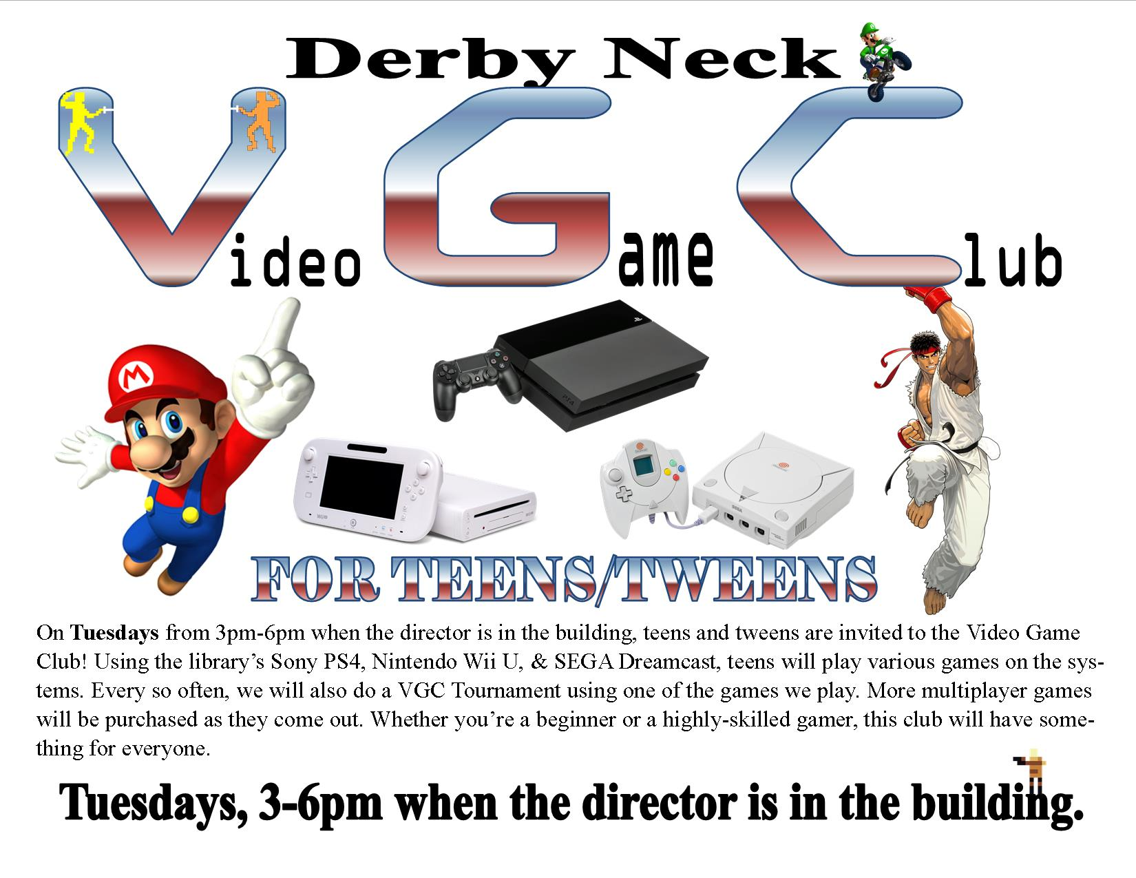Derby Neck Video Game Club - Tuesdays at 3pm