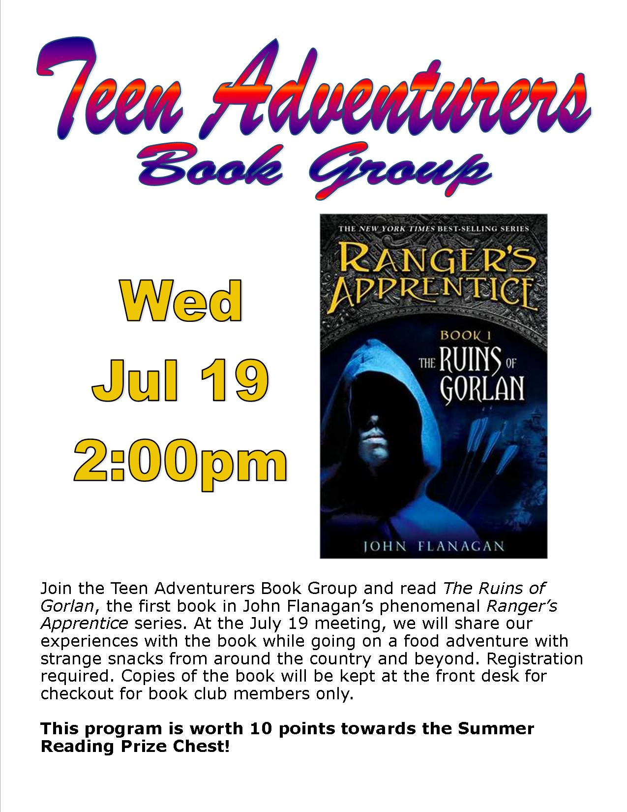 Teen Adventurers Book Club - Wed Jul 19 at 2pm
